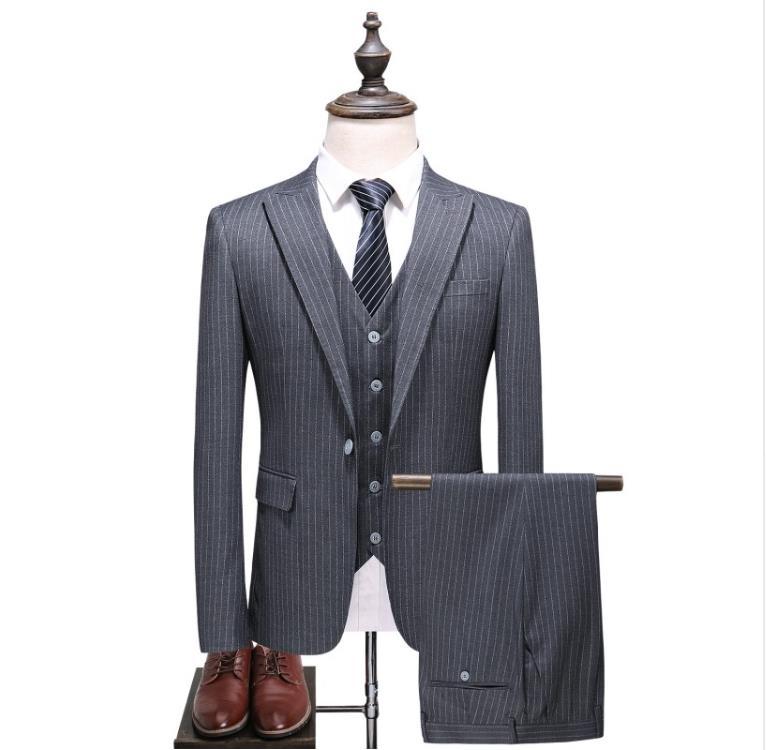 (Jacket+Vest+Pants) 2018 Costume Homme 3 Pieces Stripe Grey Single Button Men Suits Classic Suits Men's Business Herren Anzug