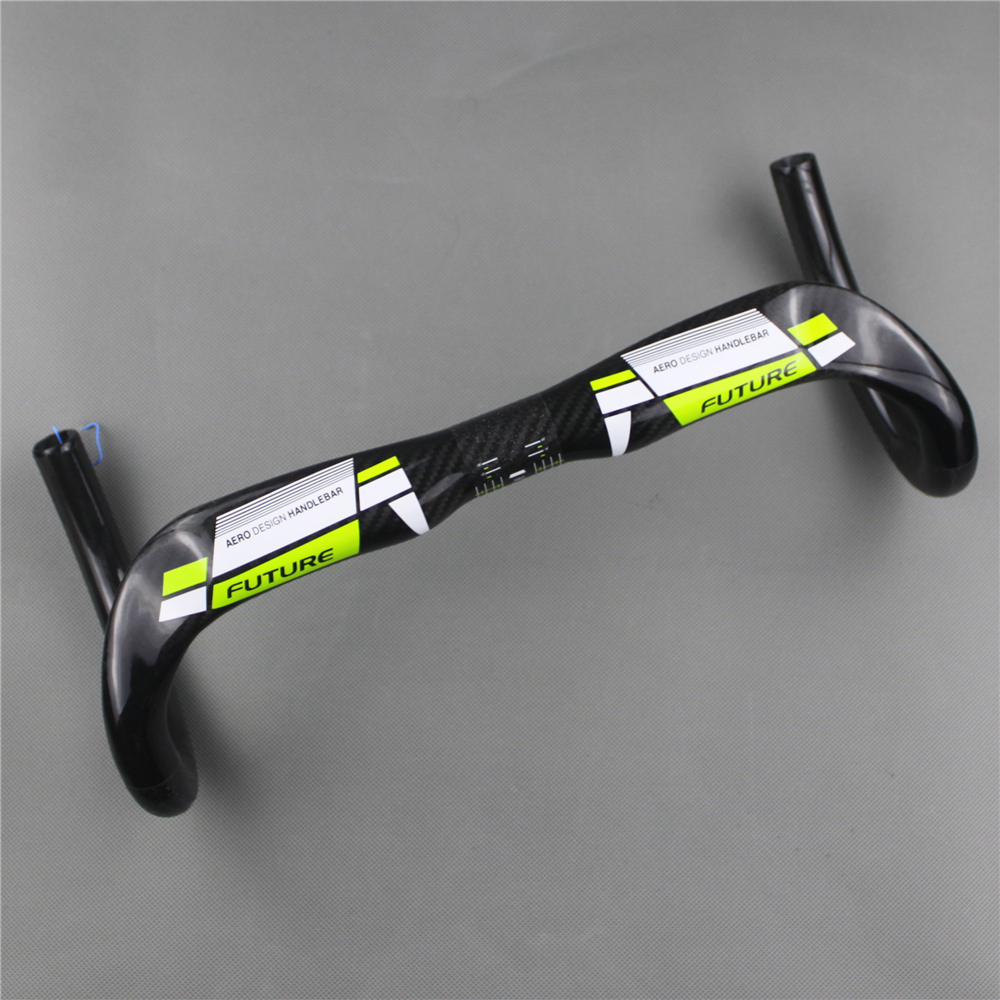 New free shipping FUTURE full carbon fiber road bike handlebar Racer handle green breaking wind bent the 31.8 * 380/400/420/440 full carbon fiber road bike ultra light handlebar super full carbon fiber road bike one bend wind bending the handle broken carb