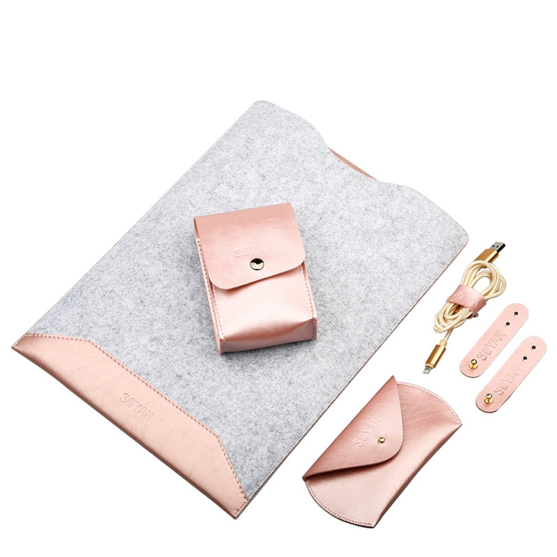 New Coque For Macbook Pro Air 13 Sleeve Wool Felt For Macbook Pro Retina Air 11 12 13 15 Laptop Bag Mouse USB Cable Storage Bag