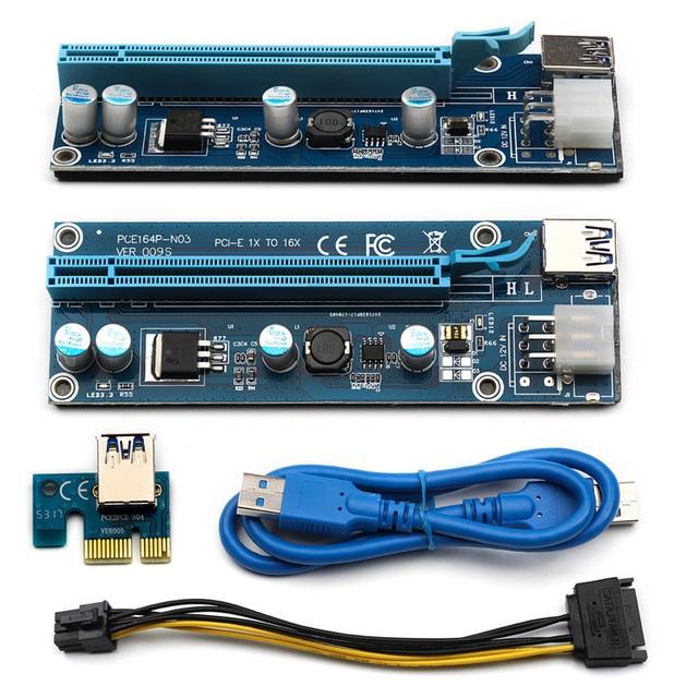 6pcs/lot 009S PCI E 1x To 16x USB 3.0 Wire PCIE Express Miner ...