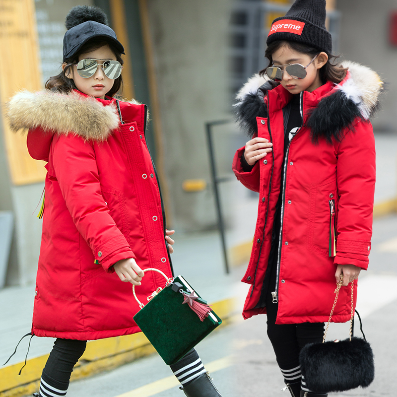 Big fur Girls Duck Down Jackets 2018 Winter Thicken Big Girl Children Down Coat Outerwear Overcoat Parkas Hooded Fashion 6-17Y 2018 turn down collar girls wool outerwear fluffy girl faux fur coat fur patchwork cool children overcoat big girls fur jackets