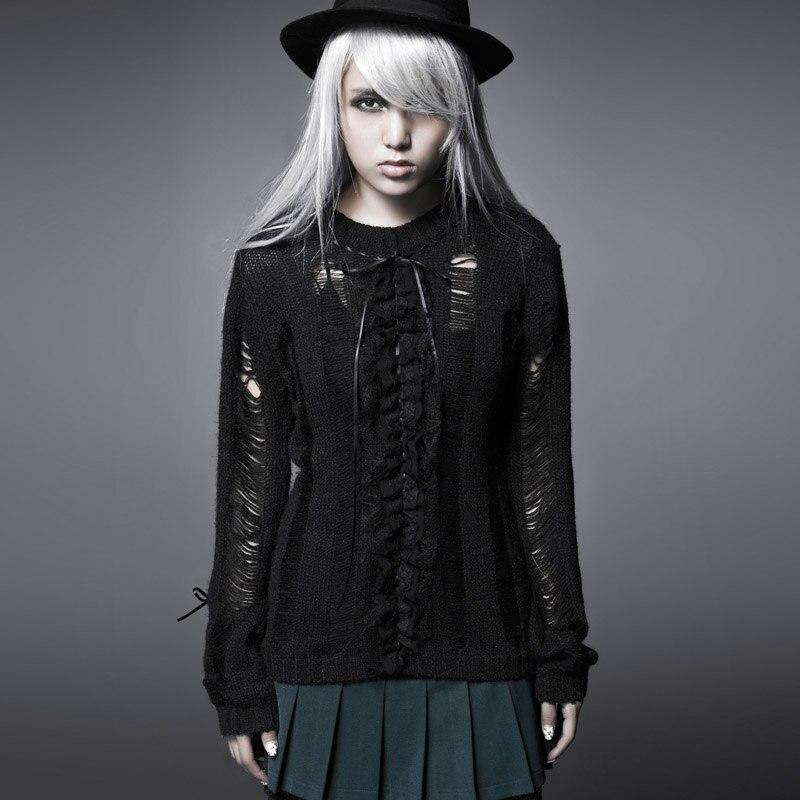 Steampunk femmes mode Sexy évider chandail gothique noir o-cou à manches longues lâche pull décontracté hauts