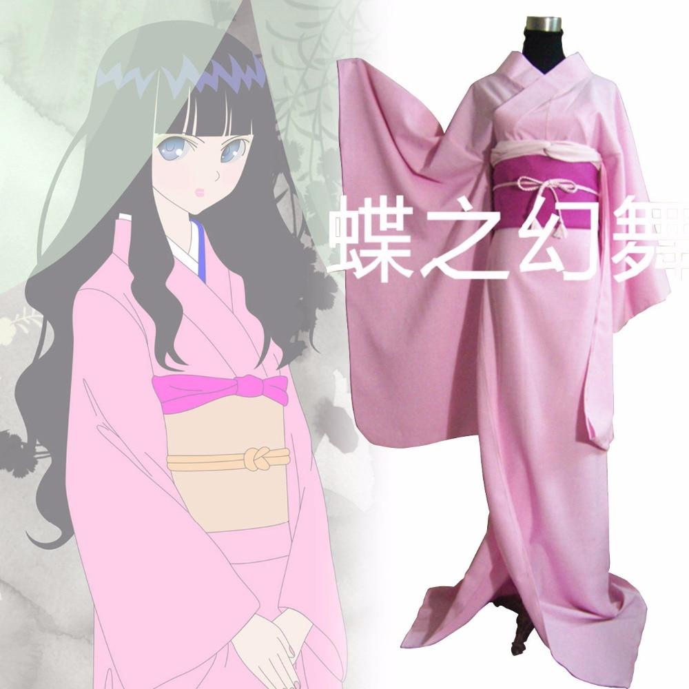 Japanese Traditional Women Pink Furisode Kimono Cosplay Costume Set