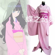 Japanese Traditional Women Pink Furisode Kimono Cosplay Cost