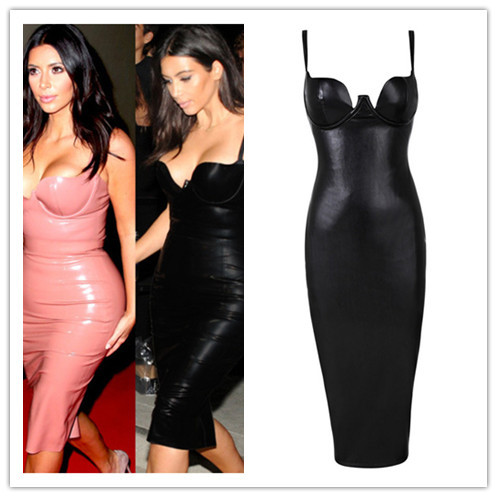 457ede998fdef4 6 Colors Hot Celebrity Kim kardashian Knee Length Black Leather Dress Sexy  Party Tight Dress