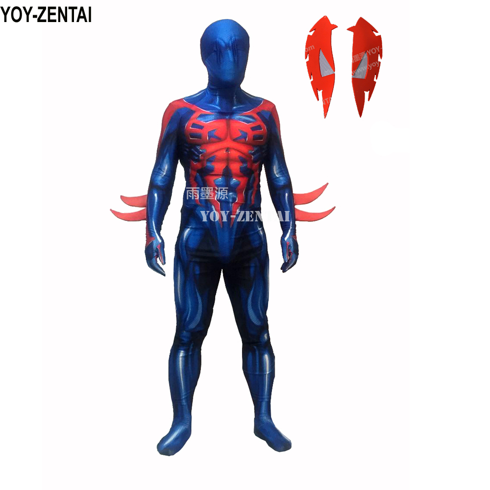 YOY-ZENTAI Top Quality 3D Print 2099 Spiderman Suit Muscle Shade 2099 Spiderman Costume Muscle Shading Spiderman Zentai Suit