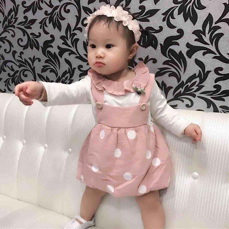 roupas de bebe Spring Baby Sets Girls Cotton T-shirts+Dot Overalls dress Two Pieces Suits Kids Clothing Sets свеча совенок