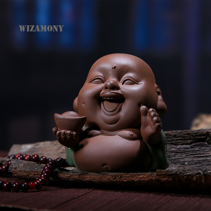 WIZAMONY Traditional Chinese Purple Clay Glazed Buddhism Art&Collectible Home Decoration Top Grade Tea Pet Ge Kiln Teapet