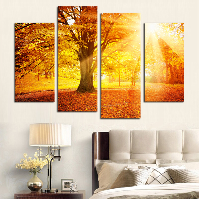 ộ_ộ ༽(Unframed)4 Plane Sunset Golden Forest Picture Painting Wall ...
