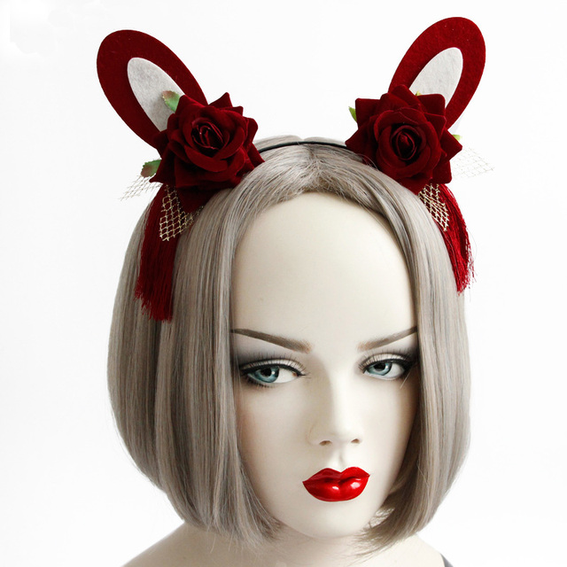 Headbands Women Girl Cosplay Red Flower Rose Bunny Rabbit Ears Tassel  Filigree Fancy Dress Ball Hairband Hair Hoop Accessories b26f0430ddd