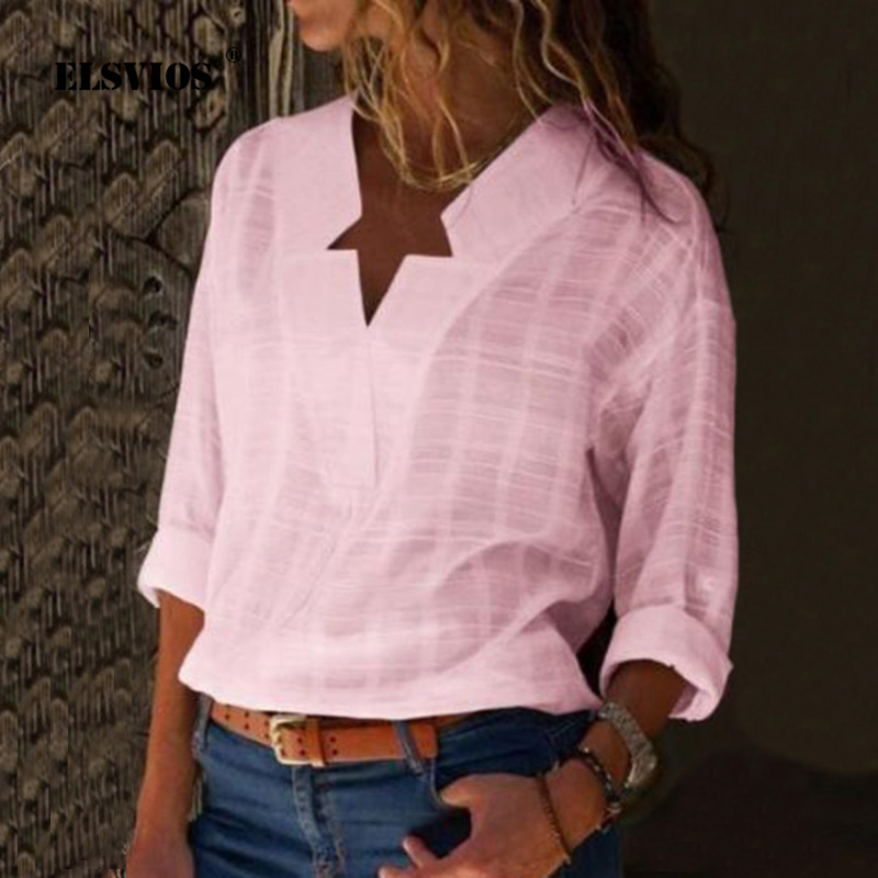ELSVIOS Women Cotton Linen Shirt Blusas New Women <font><b>Star</b></font> V-Neck Blouse Shirt Long Sleeve Female <font><b>2018</b></font> <font><b>Ladies</b></font> <font><b>Sexy</b></font> Tee Tops Feminine image