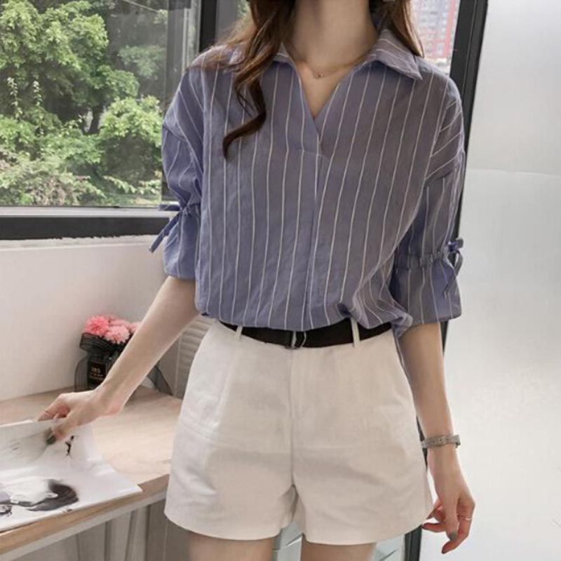 New Lace Up Bow Half Butterfly Sleeve Women   Shirt   V-neck Loose Blusas Femme Casual Tops Office Lady Tee Plus Size 3XL