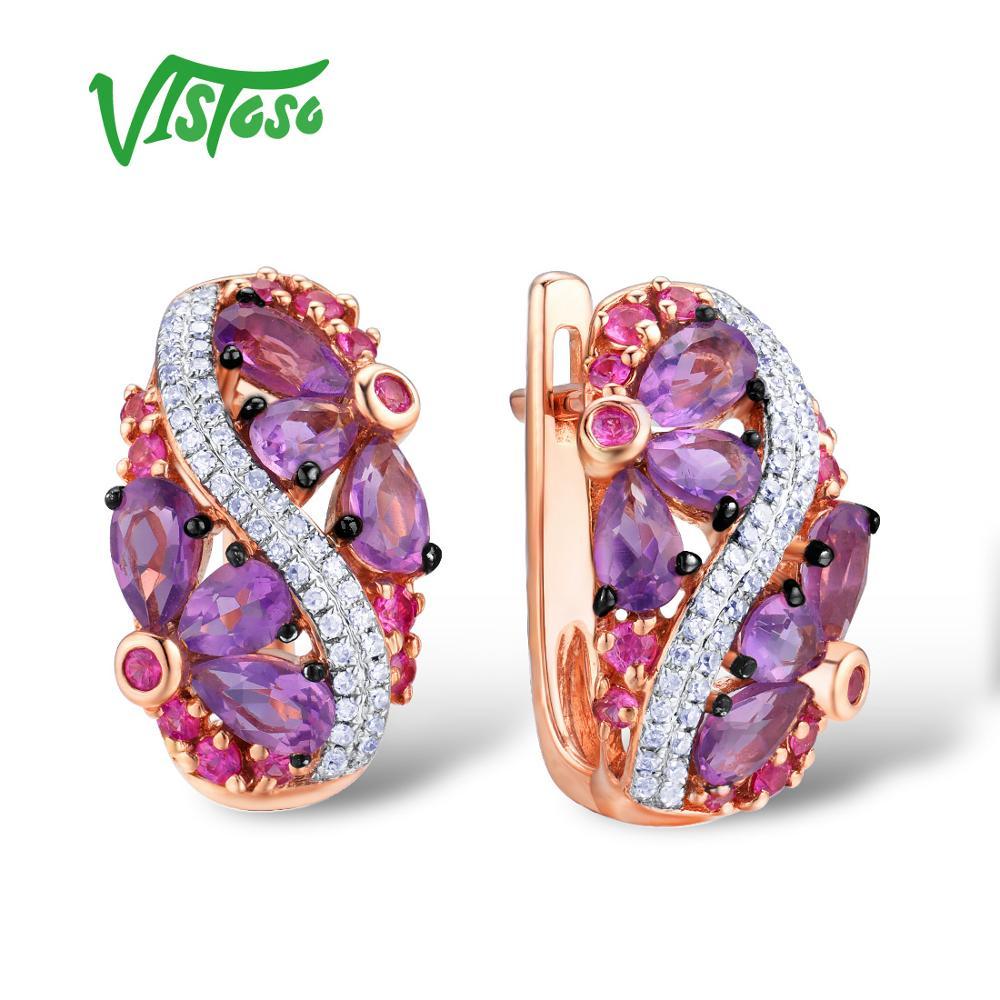VISTOSO Gold Earrings For Women Genuine 14K 585 Rose Gold Sparkling Amethyst Pink Sapphire Diamond Wedding Elegant Fine Jewelry