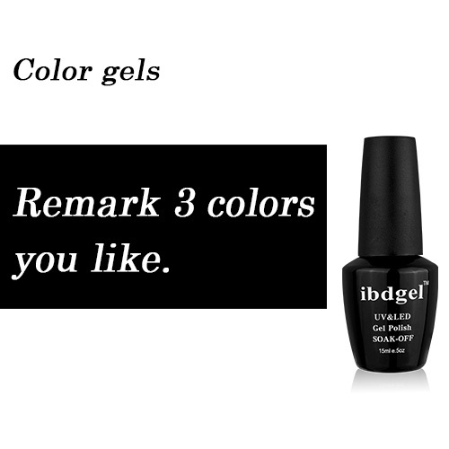 3 Pcs Kit ibdgel Brand New Gelpolish Nails Top Base Coat Gel UV Color Gel Nail Products Professional Nail Set 15ml Big Bottle