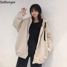 Hoodies Women Letter Printed Zipper Thicker Plus Velvet Warm Sweatshirts Womens Korean Style All-match Ulzzang BF Chic Pullovers