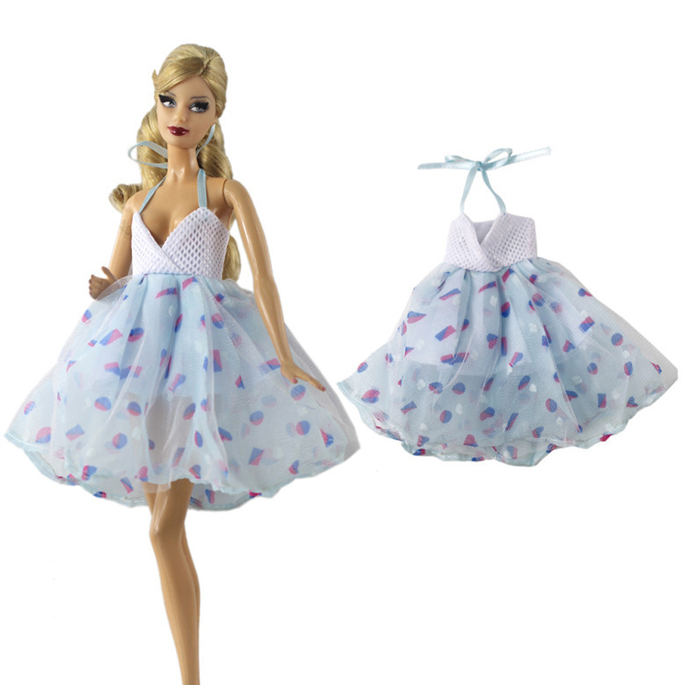 NK One Set Doll Dress  Casual Daily Colthes Fashion Skirt Party Gown For Barbie  Doll Accessories For Girl's Best Gift 133A DZ