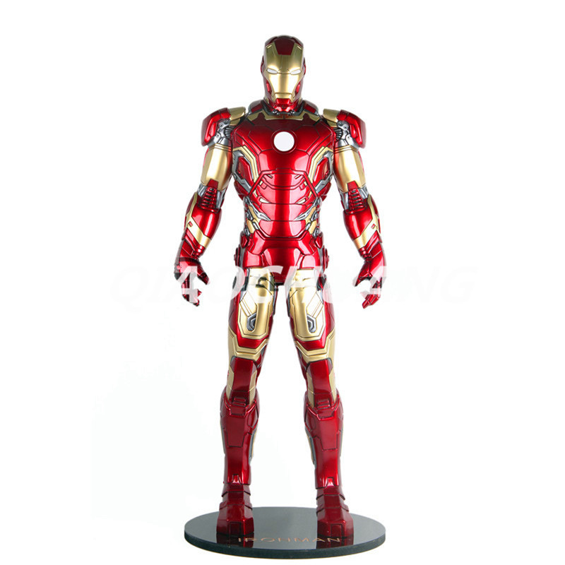 Statue Avengers Superhero Iron Man Bust MK43 1:2 Full-Length Portrait With Light Resin Action Figure Collectible Model Toy W122 avengers captain america 3 civil war black panther 1 2 resin bust model panther statue panther half length photo or portrait