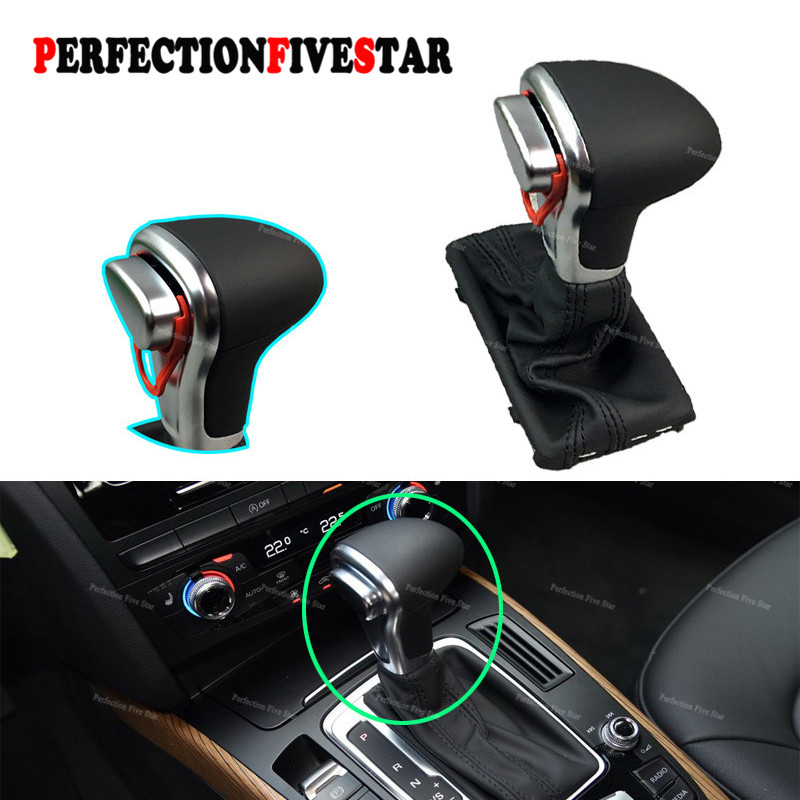 4GD713139 8KD713139 LHD Chrome Gear Shift Knob Black Leather Gaiter Boot AT LHD Only For Audi A4 B8 A6 C6 Q5 lhd