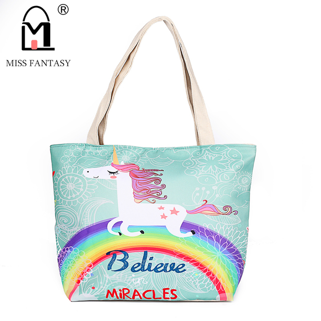 fcc63e6f17 Women s Canvas Bag Fashion Printing Handbag Beach Bag Popular Unicorn Style Skull  Women Handbag Big Tote