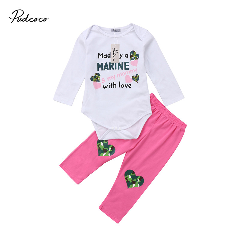 0 to 18M Hot sell Newborn Kids Baby Girls Clothes Long Sleeve Romper Jumpsuit Tops+Pants Leggings 2pcs Outfits Baby Clothing Set