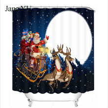JaneYU New Santa creative print waterproof shower curtain