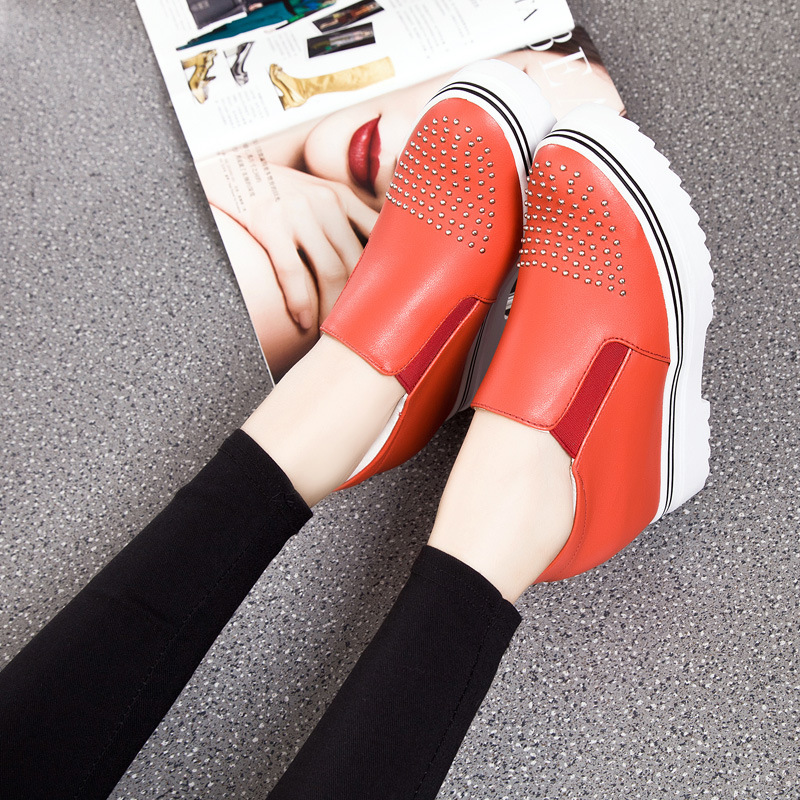 2016 New Spring Fall Fashion Genuine Leather Flat font b Women b font Loafers Shoes Height
