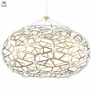 Роскошные овальные металлические светодиодные подвесные светильники 96 Вт, медные светодиодные подвесные лампы, светодиодные лампы для вну...