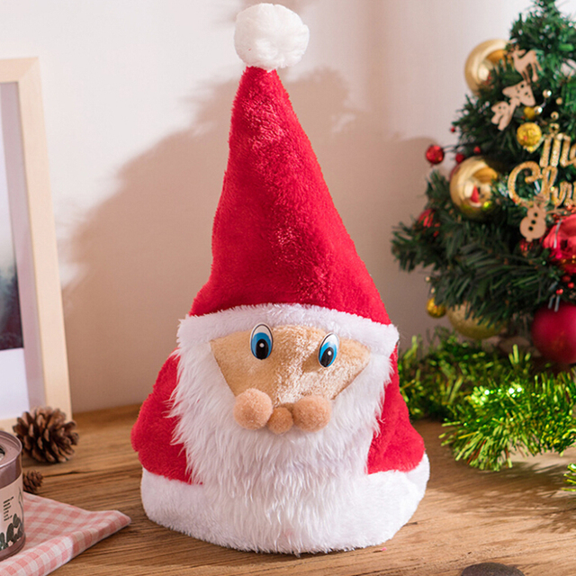 125baf29b65cc Christmas Ornaments Red Santa Claus Old Face Plush Hat Child Adult Party  Supplies Holiday Gifts for New Year Xmas Decor