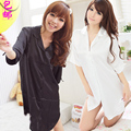 Hot-selling sexy loose spring and summer silk nightgown women's shirt sleepwear lounge