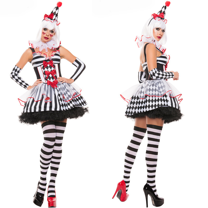 Circus Girls Clown Cosplay Costume Adult Female Halloween Carnival Pretty Evil Jester Women Fancy Party Dress Up Outfits