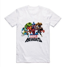 Super hero Captain America batman spider-man hulk The thor Casual Printing Mens Modal Shirt