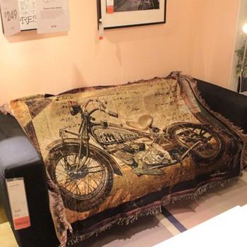 Retro dekoracja do domu rzuca motocykl Patten wygodna wentylacja krzesło sofa Nap rzuć koc sypialnia lato koc tanie i dobre opinie 100 poliester Drukowane TZ-GG-103 300tc Zwykły Tkane Pościel Podróży Dekoracyjne Motorcycle Rectangle Tassels Throw
