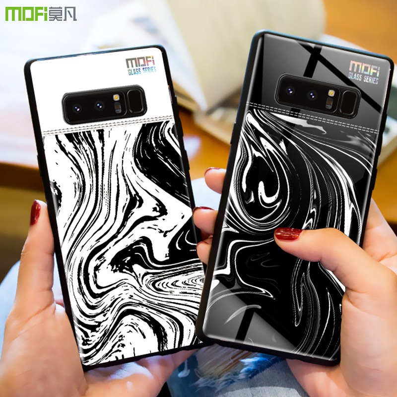 For Samsung note 8 case cover Mofi for Samsung galaxy note 8 case glass back cover hard marble grain flow wave for Galaxy note8