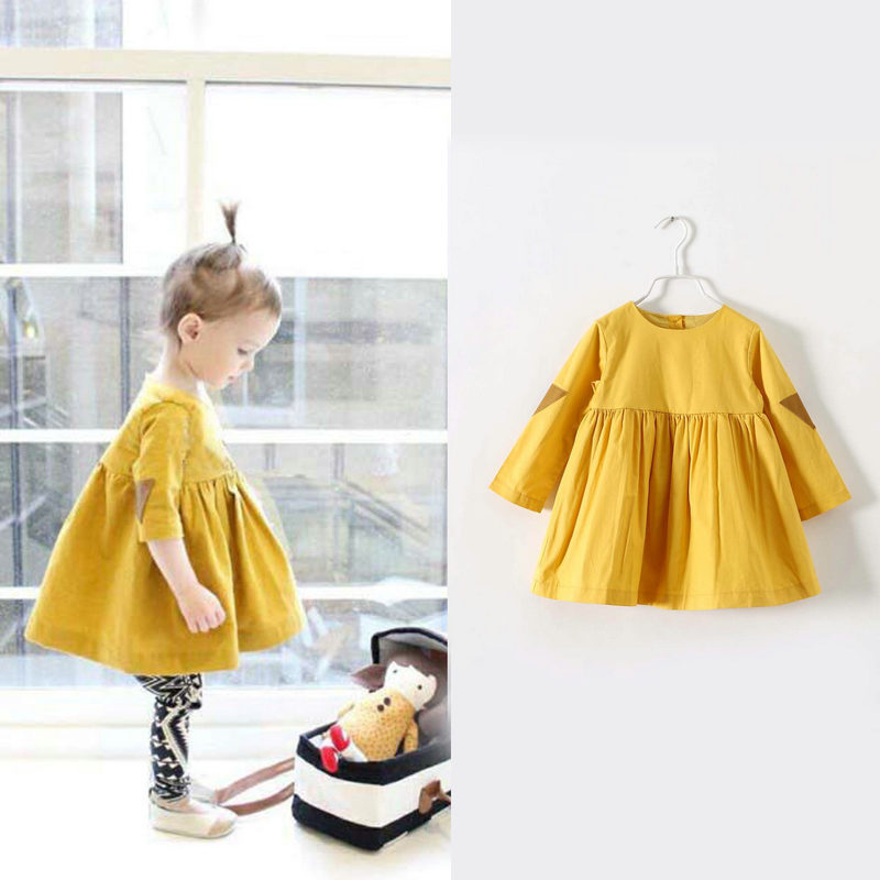 Yellow Little Girls Dresses 2017 for Party Solid Baby Dress Girl Princess Tutu Bubble Dress Kids Dresses for Girls 3 Years  little kids fubbles bubble machine