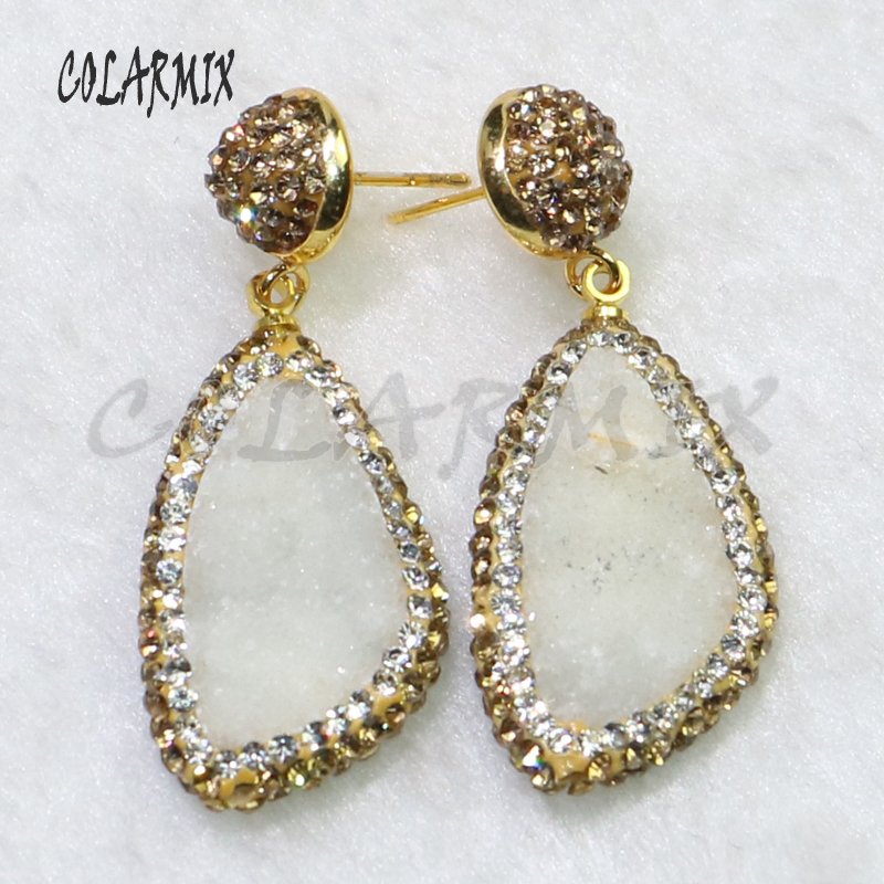 3 Pairs Fashion Geode stone earrings pave gold color rhinestone long druzy gift for lady 6098