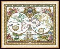 Alegria de Domingo do Velho mundo mapa padrão do ponto da cruz kits de artesanato fazer o bordado com gráfico