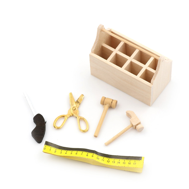 Toys & Hobbies Doll Houses Toolbox With Metal Tools Set 1/12 Dollhouse Miniature Repair Kits Decoration For Doll House Accessories Furniture Toys