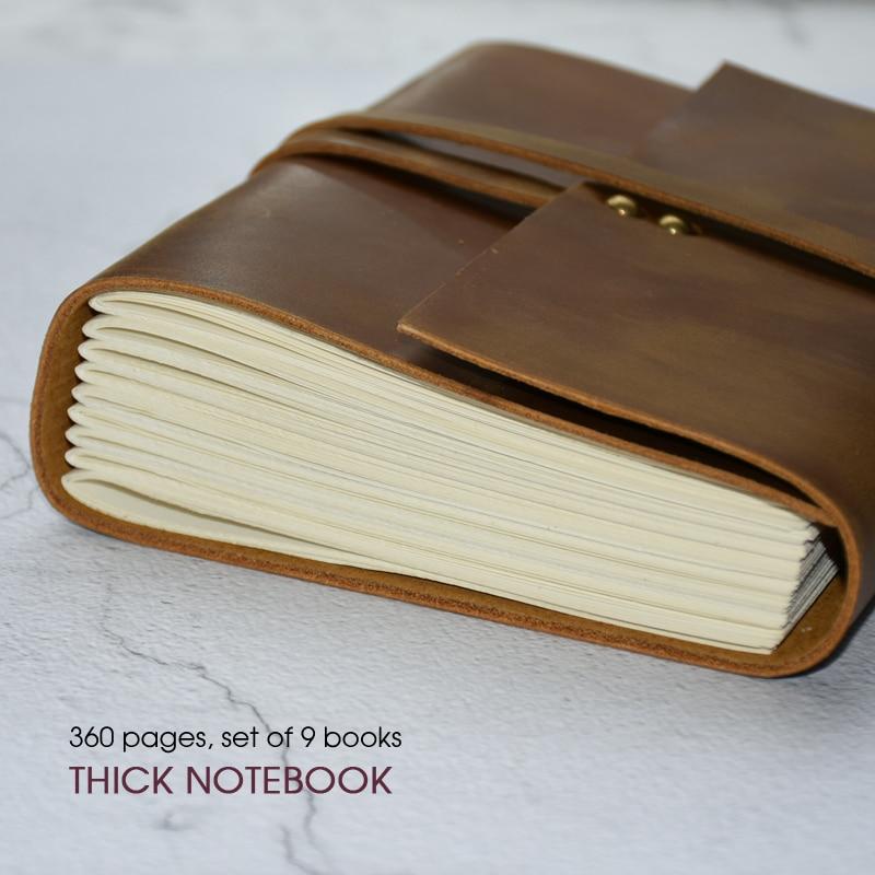hecho a mano de cuero diario bloc de notas para hombres y mujeres papel en blanco Regalo perfecto para arte Sketchbook Diario de piel para escribir diario de viaje y cuadernos para escribir en