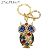 ENORLEEN New fashion boutique eye Owl key chains car ornaments key chain bag pendant sweater chain multiple color wholesale
