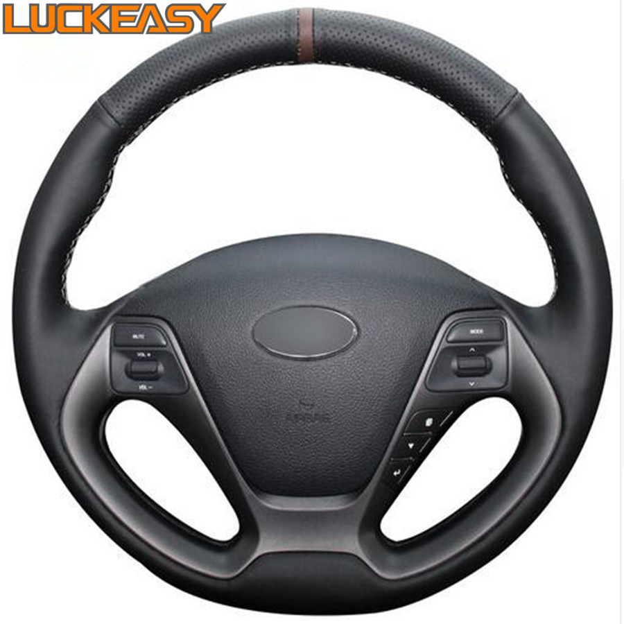Black Genuine Leather Car Steering Wheel Cover for Kia K3 2013 K2 2015 Ceed Cee d