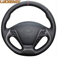 Black Genuine Leather Car Steering Wheel Cover For Kia K3 2013 K2 2015 Ceed Cee D