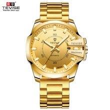 TEVISE reloj mecánico automático para hombre, luminoso, de negocios, resistente al agua, dorado, Masculino