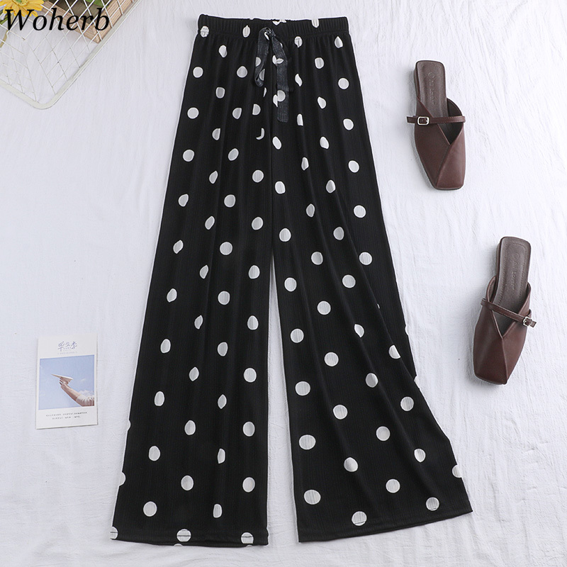 Woherb 2019 Summer Thin   Wide     Leg     Pants   Vintage Polka Dot Print Elastic High Waist   Pants   Korean Ladies Casual Trousers 22832