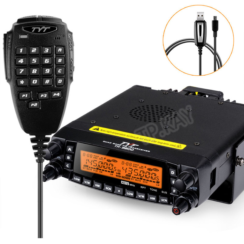 Newest Firmware TYT TH-9800 Quad Band Radio With Detachable Panel And Programming Cable/Software