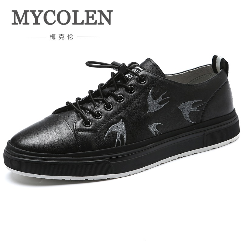 MYCOLEN 2018 New Style Men Fashion Casual Shoes Canvas Male Footwear Comfortable Flat Shoes Black Lace-Up Men Shoes Sapato men s leather shoes vintage style casual shoes comfortable lace up flat shoes men footwears size 39 44 pa005m