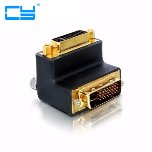 90 Degree Right Angled DVI 24+5 D Dvi-d Digital Dual Link Male To Female Extension Adapter For HDTV LCD Monitor