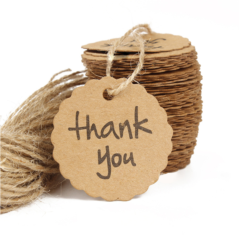 100pcs/lot Kraft Paper Thank You Tag 4cm Round Wishing Bottle Card Hang Gift Tags Crafts Wedding Decoration DIY Party Supplies image