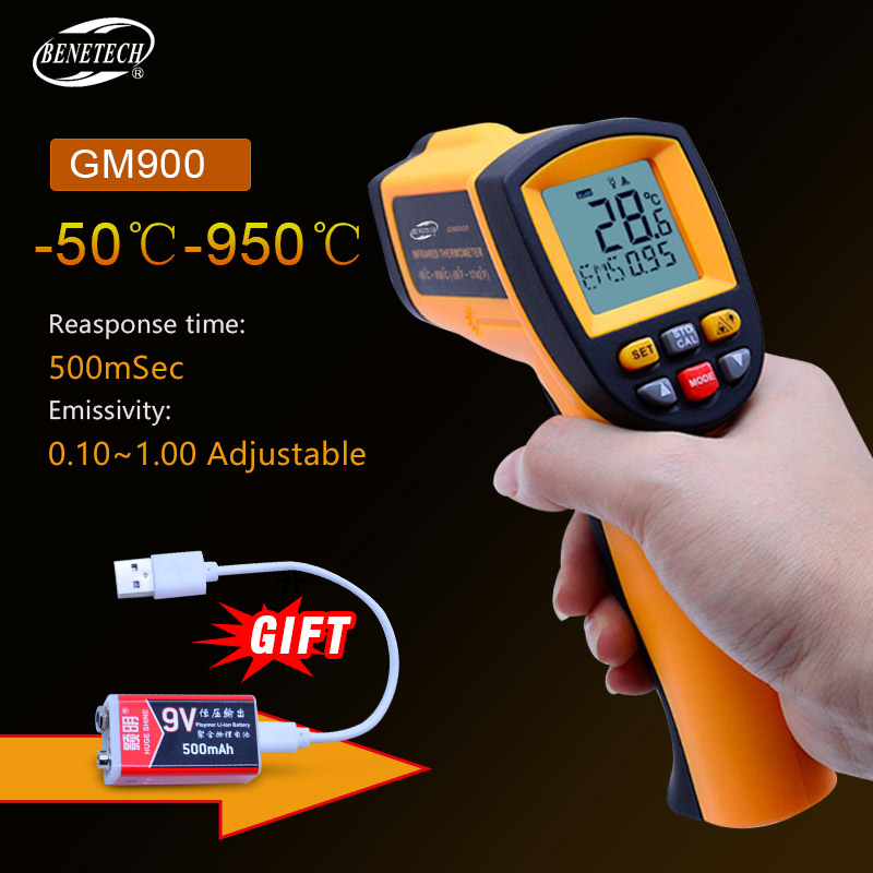 IR Infrared Thermometer GM900 Digital Temperature Meter -50~950C Pyrometer 0.1~1EM Celsius with Non-Contact LCD Termometre