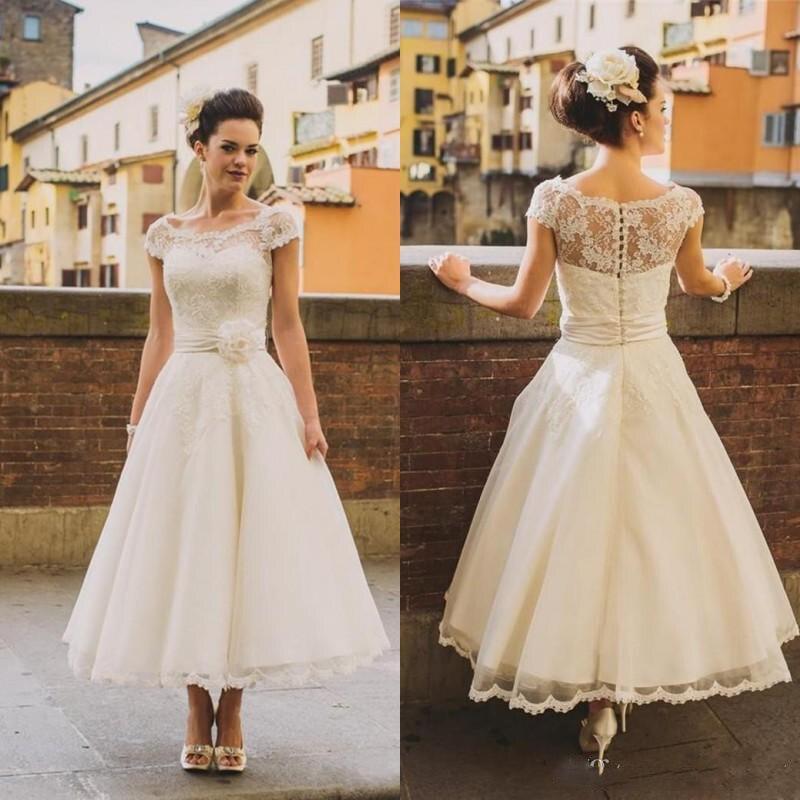 Buy 2019 1950s Vintage Ankle Length Wedding Dresses Cap Sleeve Jewel Neck Flower Belt A Line Lace Short Bridal Gowns Custom Made for only 209.72 USD