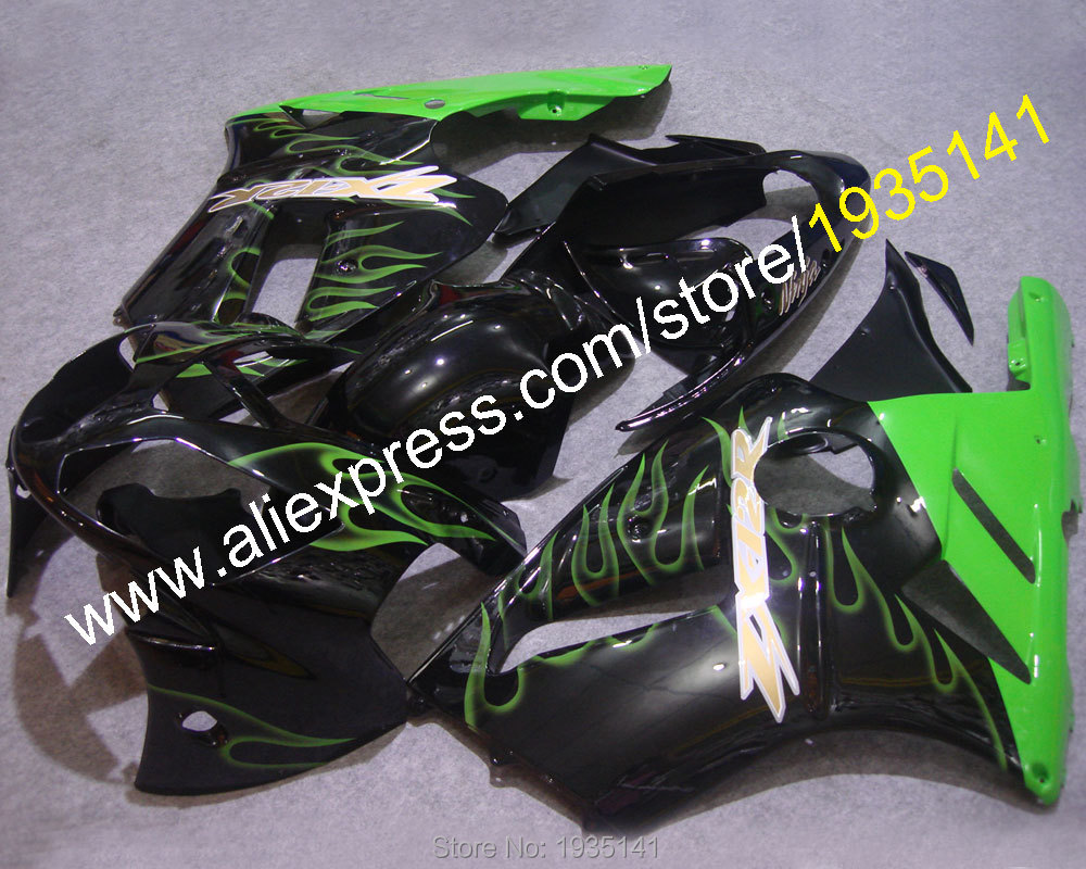 Hot Sales,For Kawasaki fairings ZX-12R 2002-2004 Green flames ZX12R Cowling ZX 12R Ninja Motorbike parts (Injection molding)
